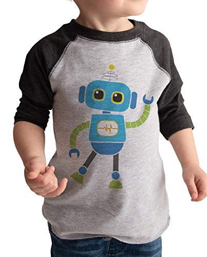 7 ate 9 Apparel Boy's Novelty Robot Vintage Baseball Tee 12 Months Grey and Blue