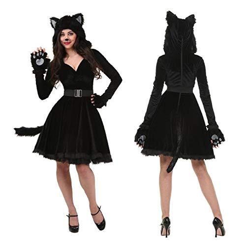 Disfraz de Gato Negro para Halloween para Hombre y Mujer, Disfraz de Animal, para Disfraz de Escenario