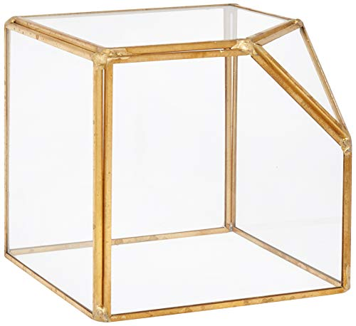 """Circleware 03500 Terraria Square Plant Clear Glass Terrarium with Triangle Metal Frame, Home Decor Flower Balcony Display Box and Garden Gifts 7.87"""" x 7.87"""" x 10.24"""" Gold"""