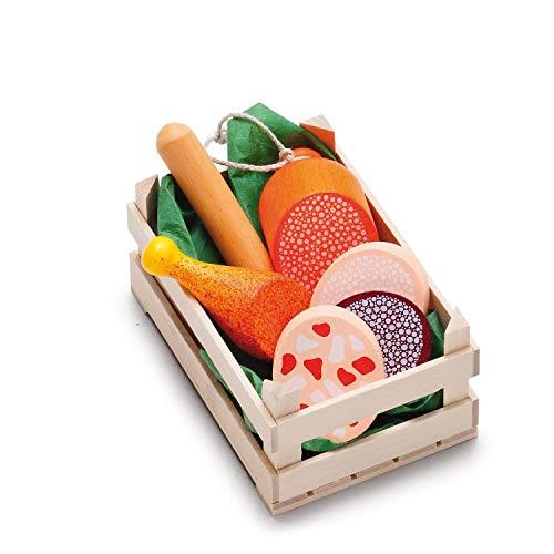 Erzi 28245 Sortiment Wurstwaren, klein aus Holz, Kaufladenartikel für Kinder, Rollenspiele
