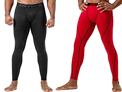 DEVOPS 2 Pack Men's Thermal Compression Pants, Underwear Long Johns Base Layer Tights (Large, Black/Red)