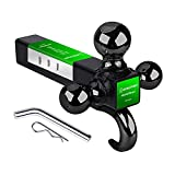 BEBLEPANY Trailer Hitch Tri Ball Mount with Hook Hollow Shank with Pin and Clip, (Ball Size:1-7/8' - 2000LBS,2' - 6000LBS and 2-5/16' - 10000LBS) Trailer Receiver Black&Chrome