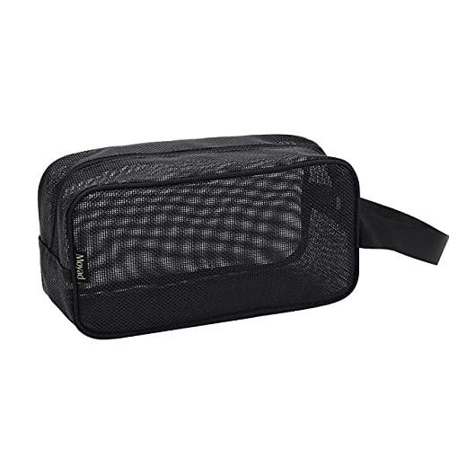LSZA Bolsa cosmética, impermeable, portátil, de malla para hombre, kit de aseo para mujer, cosméticos de viaje, bolsa de almacenamiento, color negro