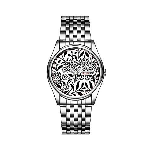 Reloj de lujo para hombre, resistente al agua hasta 30 m, fecha, reloj deportivo para hombre, reloj de pulsera de cuarzo, informal, regalo de damasco, color blanco y negro