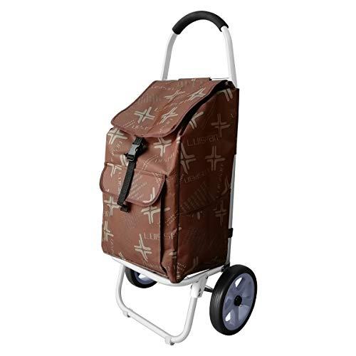 DoubleBlack Einkaufswagen mit 2 Silent Wheels Abnehmbare Tasche Aluminiumlegierung Klappzug Schubwagen Max. Kapazität 40 kg für ältere Menschen, 101 x 44 x 34 Zentimeter,48 L - Braun