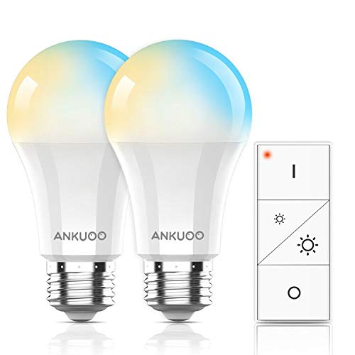 Remote Control Smart Bulb by Ankuoo,Dimmable E26 LED Light Bulb with Wireless Light Switch,Wireless Bulbs Warm White,165 ft Range,24 Dimmable Modes for Lamp,No Hub Required