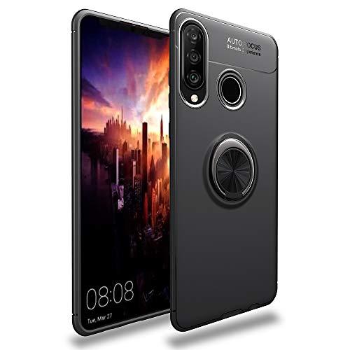 NALIA Ring Hülle kompatibel mit Huawei P30 Lite, Magnetische Silikon Handyhülle für KFZ-Halterung 360-Grad Finger-Halter, Dünnes Kickstand Cover Schutzhülle Ständer Case Slim Etui Bumper - Schwarz