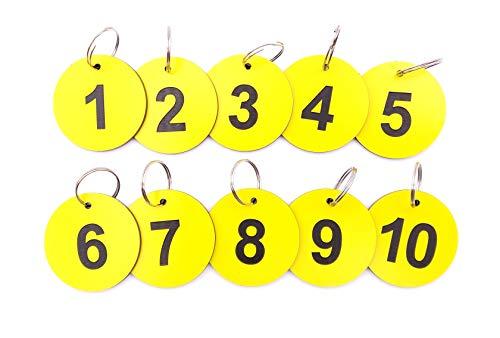 Origine Schlüsselanhänger, Schlüsselanhänger, Nummern 1 bis 10, gelber Acryl-Kunststoff, rund, mit schwarzer Gravur, Zahlen, für Hotels, Pensionen, B&Bs, Unternehmen