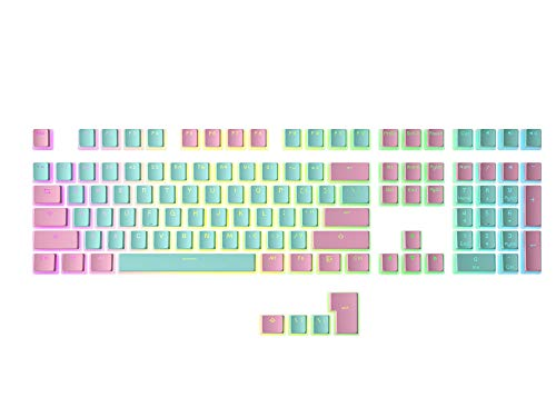 HK Gaming 108 Double Shot PBT Pudding Keycaps Keyset for Mechanical Gaming Keyboard MX Switches (Miami)