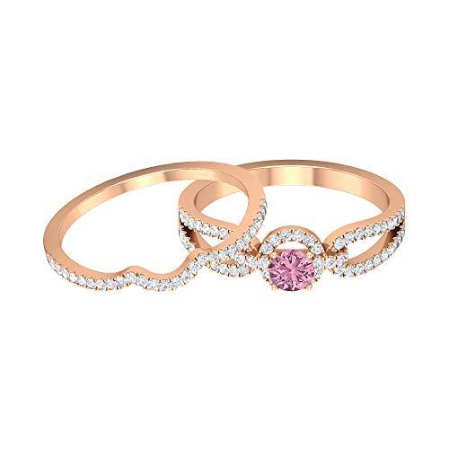 Piedra de nacimiento de octubre - 4,00 mm solitario anillo de turmalina rosa, anillo de diamante HI-SI, anillo solitario con anillo de boda, 14K Oro rosa, Size:EU 67