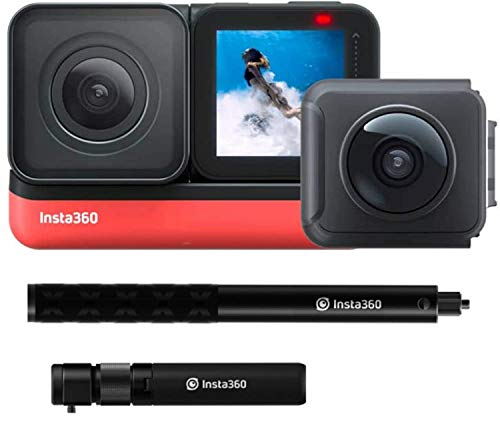 Insta360 ONE R Twin Edition All-in-One Bundle: Action Camera + Bullet Time Handle + Invisible Selfie Stick - Super 5.7K Dual Lens, 4K Wide Angle (SD Card Sold Separately), Authorized Dealer