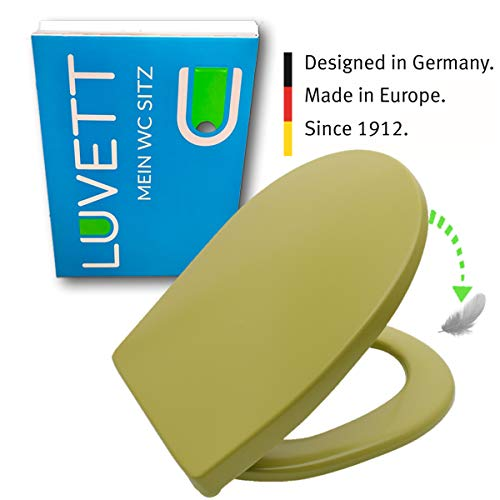 LUVETT WC-Sitz C100 oval mit Absenkautomatik SoftClose® & TakeOff® EasyClean Abnahme, Duroplast Toilettendeckel, Farbe:Moosgrün