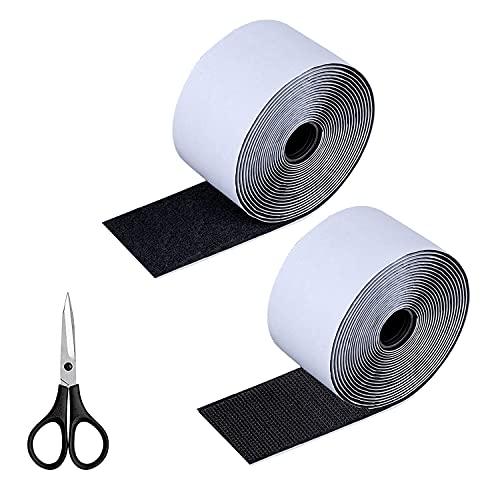 RayE Cinta de velcro autoadhesiva con tijeras, 6 m x 5 cm, cinta de velcro extra fuerte, doble cara, cierre de velcro autoadhesivo reutilizable para coser, se puede cortar según sea necesario.