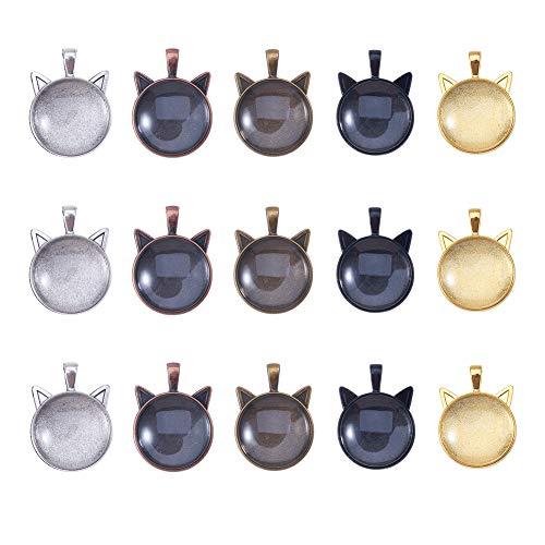 nbeads 24セット 6色 ねこ ガラスカボション ミール皿 カメオ台 レジン 台座 ベゼルペンダント ペンダントベース ベゼルトレイ 空白 ネックレス ジュエリー作り チャームトレイ 手作り DIY 飾品