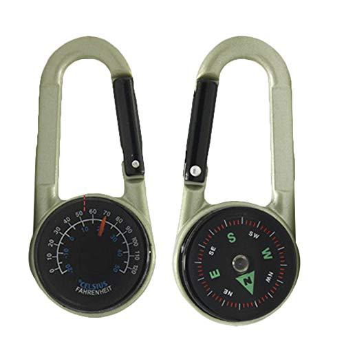 Lecimo 2pcs Mousqueton en métal Multifonctionnel randonnée Trousseau avec Mini thermomètre Boussole Sport en Plein air