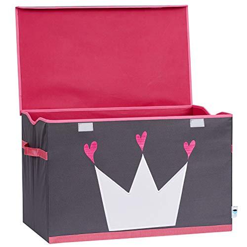 Store It 670407 Spielzeugtruhe, Polyester, Krone-grau/weiß/pink, 62 x 37,5 x 39 cm