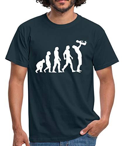 Évolution du Singe Au Papa T-Shirt Homme, L, Marine