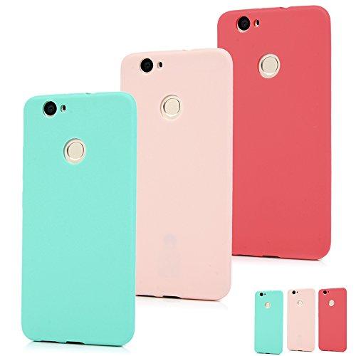SUPWALL Cover Huawei Nova, Custodia Morbida TPU Silicone Flessibile Gomma - Case Ultra Sottile Cassa Protettiva per Huawei Nova - Colore di Rosso + Azzurro + Rosa (Tre Cover)