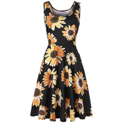 Vestido de Verano Casual Beach Sundress Sundress Línea de Serpiente sin Mangas Mini