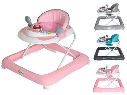 Clamaro 'BABYRACER' Baby Gehfrei (rosa) - Höhenverstellbare Lauflernhilfe mit extra hoher Rückenlehne und bequemen Polstern, extra Spielcenter mit Musik