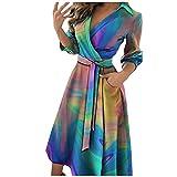 Vestido de camisa para mujer para otoño e invierno, manga larga, vestido largo hasta la rodilla, elegante vestido de cóctel largo, multicolor, XXL