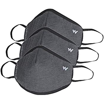 Wildcraft SUPERMASK W95 Plus Reusable Outdoor Respirator Mask - GRINDLE-Large (Pack Of 3, GRY_DARK)