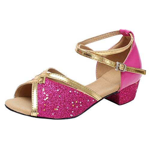 Sandales Danse Fille Chaussure à Talon Bout Ouvert Enfant Tango Latin Cha-Cha Soirée Unique Chaussures de Pratique Chaussures de Princesse 4-15ans BaZhaHei(30,Rose Vif)