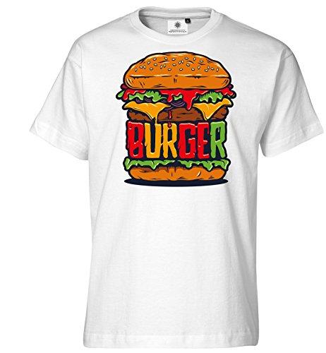 Customized by S.O.S Maglietta da uomo Burger bianco XXL