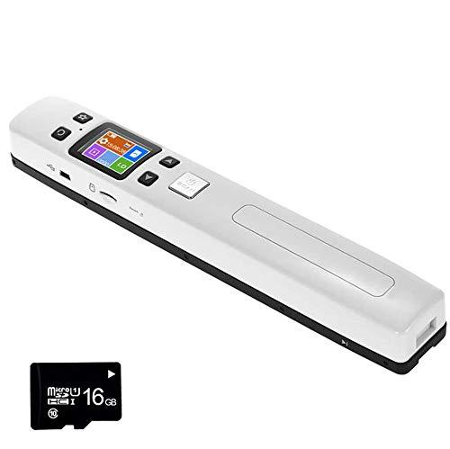 EJOYDUTY 1050DPI WiFi-Handscanner, Mobiler A4-Dokumentenscan, für Unternehmen, Foto, Bild, Quittungen, Bücher, JPG/PDF, 1,8 Zoll LCD-Display, Beinhaltet 16G SD-Karte,Weiß