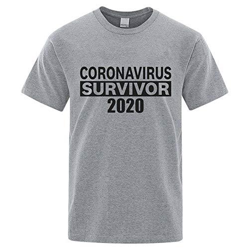 HOAPL CORONAVIRUS SURVIVOR 2020 T-Shirt Unisex Adulto COVID-19 Maglietta Uomo Donna, Cotone, grigio, L