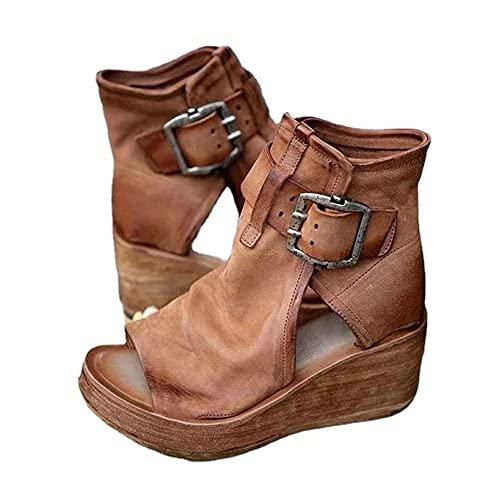 EUUK 2021 Sandalias de Cuña de Verano para Mujer,Zapato de Playa Moda Plataforma Tacón Alto,Sandalias Ligero Punta Abierta Casual Comodidad,para Deportes Al Aire Libre