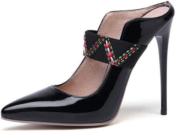 VIVIOO Plus la Taille 34-47 Chaussures à Talons Ultra Femmes Mules 12cm Chaussures d'été pour Les Les dames Chaussures à Bout Pointu