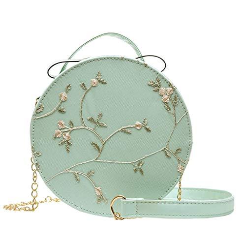 Generisch Damen Tasche Handtasche rund mit Stickereien (Grün)