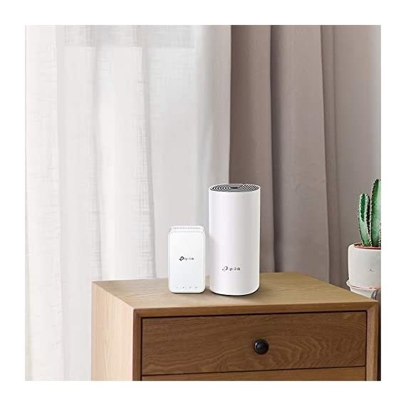 TP-Link Deco E3(2-Pack) AC1200 Whole Home Mesh WiFi System 3 Deco E3 uses both a Deco E4R and Deco M3W mesh range extender to achieve seamless whole-home WiFi coverage up to 2, 500 square feet.