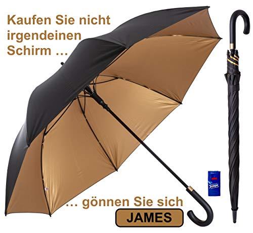 XXL Regenschirm 120cm Durchmesser Schwarz Automatik Reise Golf Schirm für Herren Gentlemen Sturmfest Windsicher Leicht Klassisch 54inch groß für 2 Personen Stabil 3 Exklusive Gentleman Designs