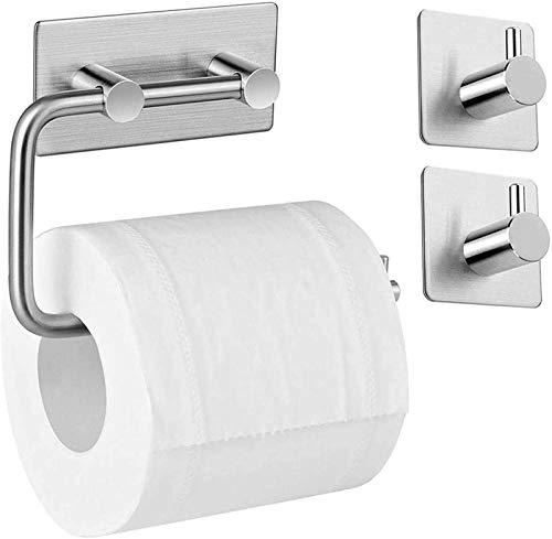 hsj Toallero de papel higiénico sin pinchazos para inodoro de acero inoxidable Toallero de papel de baño de cocina titular de papel duradero