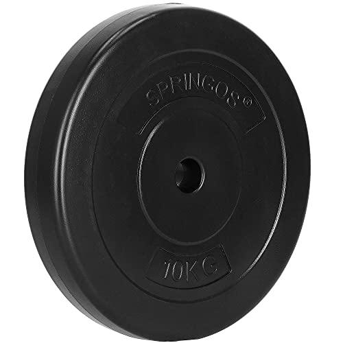 SPRINGOS Discos de pesas de betún sólidos, duraderos, indeformables (negro, 10 kg)