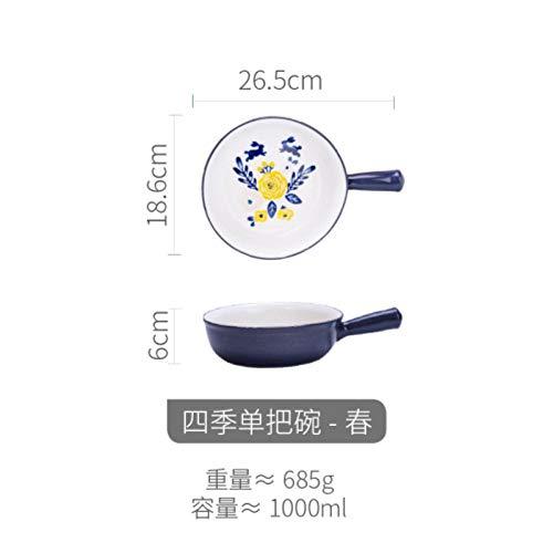 Houer Creatieve handgeschilderde keramische bakschaal slakom soepkom ontbijtkom magnetron kaas gebakken rijst, B