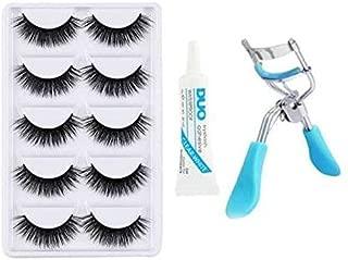 Miss Hot 5 Pieces Eyelashes with Eyelash Glue and Eyelash Curler (Black)