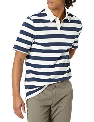 Amazon Essentials Regular-Fit Short-Sleeve Rugby Polo-Shirts, Marineblau/Weiß gestreift, XL