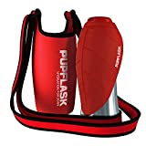 Dog Water Bottle Holder and PupFlask Portable Water Bottle - 27oz, Red