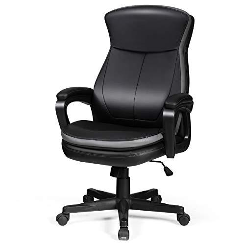 COSTWAY Chefsessel belastbar bis 120kg, Bürostuhl höhenverstellbarer Computerstuhl 360 ° drehbar, moderner Lederstuhl mit Rückenlehne und Armlehne für Büro, Arbeitszimmer