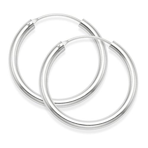 Pendientes de aro de plata de ley, tamaño:30 x 3 mm, alta calidad6276