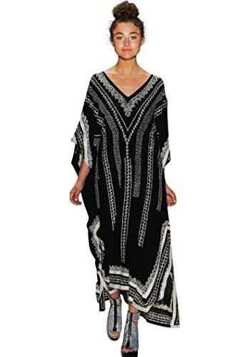 Caftan Women Ethnic Print overized Swimsuit Cover up Vneck Short Sleeve Caftans Fast Dry Caftan Dresses Side Split Bathing Suit Cover Ups Long Beach Dresses (8650)
