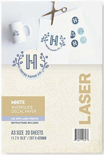 Hayes Paper Co Waterslide Decal WHITE LASER A3 20 Sheets