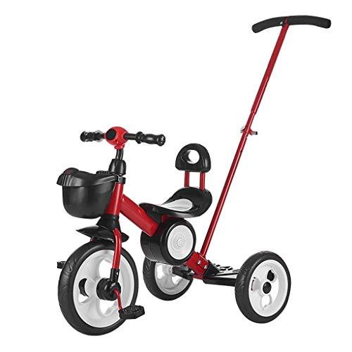 Triciclo para niños, multifunción 3 en 1 con putter de mano, diseño de almacenamiento de bicicletas de triciclo al aire libre, 3 colores (color: rojo) (Color: rojo) T