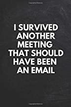 I Survived Another Meeting That Should Have Been An Email: 6x9 Lined 110 pages Funny Notebook, Ruled Unique Diary, Sarcastic Humor Journal, Gag Gift ... secret santa, christmas, appreciation gift