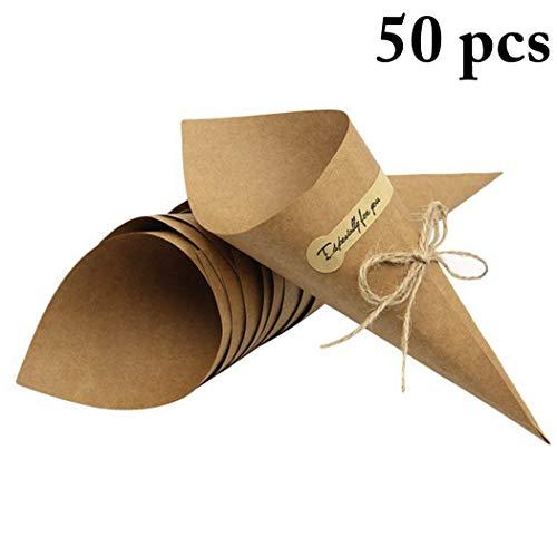 Justdolife 50 szt. stożek papieru typu kraft DIY wielofunkcyjny konfetti na imprezę do bukietu cukierków