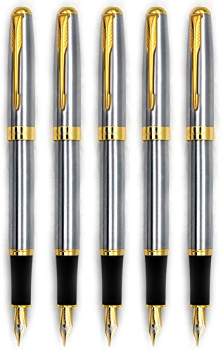 Gullor 5PCS Fountain Pens BE388 Gold Trim, Medium Nib, Silver