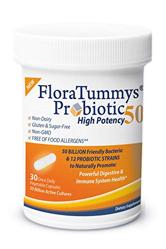 FloraTummys 50 High Potency Adult Probiotic, 50 Billion CFU, Prebiotics, Dairy Free, Gluten Free Probiotic, Non-GMO, Sugar-Free, Free of Food Allergens, Made in USA